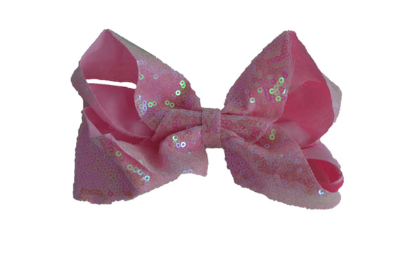 Sequin Boutique Bow 6 Inches - Light Pink - Dream Lily Designs