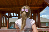 Pink Glitter and Leather Hair Bow - Dream Lily Designs