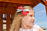 Mini Red and Silver Sparkle Cheer Bow Clip - Dream Lily Designs