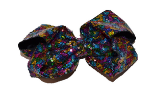 Sequin Boutique Bow 8 Inches - Black Rainbow - Dream Lily Designs
