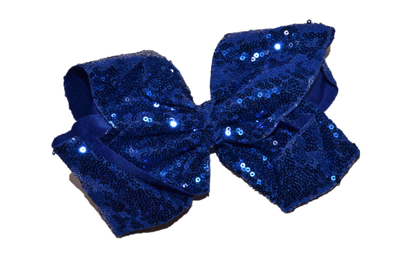 Sequin Boutique Bow 8 Inches - Blue