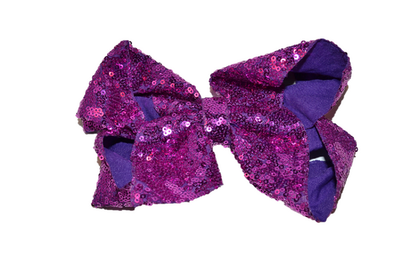 Sequin Boutique Bow 8 Inches - Purple - Dream Lily Designs