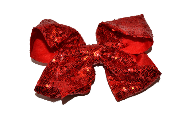 Sequin Boutique Bow 8 Inches - Red - Dream Lily Designs
