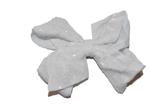 Sequin Boutique Bow 8 Inches - White