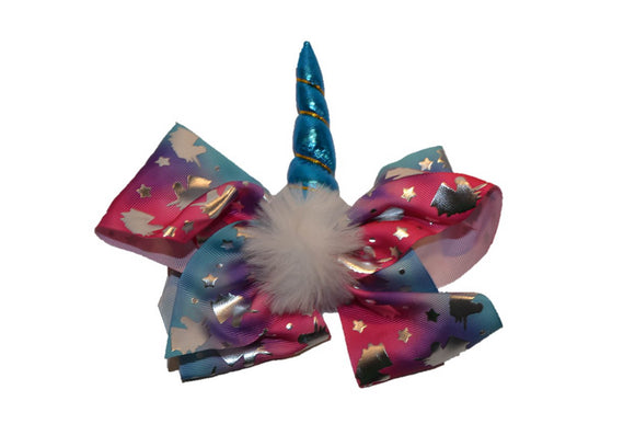Pink Purple Blue with Metallic Unicorn Bow Hair Clip - Dream Lily Designs