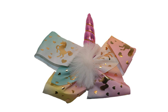 White Blue Yellow and Pink with Gold Unicorn Bow Hair Clip - Dream Lily Designs