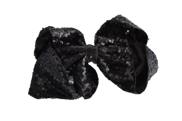 Sequin Boutique Bow 8 Inches - Black - Dream Lily Designs