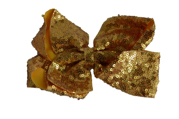 Sequin Boutique Bow 8 Inches - Gold - Dream Lily Designs