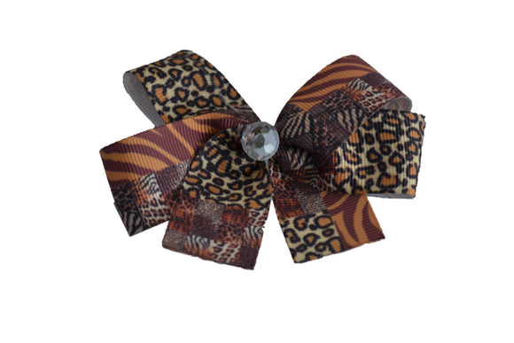 1 Inch Animal Print Cheetah Pattern Hair Bow (Animal) - Dream Lily Designs