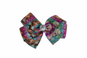 Frozen Anna Elsa Purple Teal Bow (Disney) - Dream Lily Designs