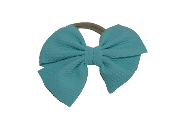 Aqua Blue Nylon Fabric Pinwheel Bow Baby Headband - Dream Lily Designs
