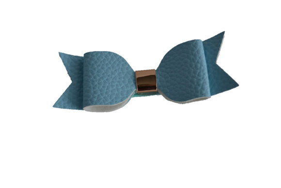 Light Blue Leather Bow - Dream Lily Designs