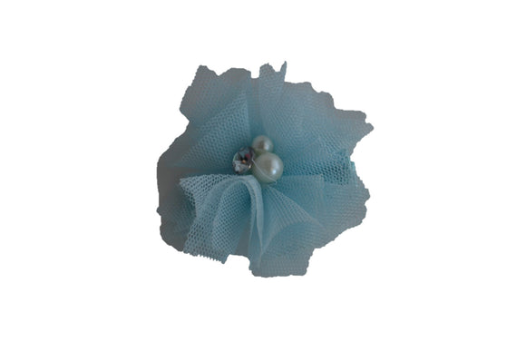 Tulle Crystal Flower Hair Clip - Light Blue - Dream Lily Designs