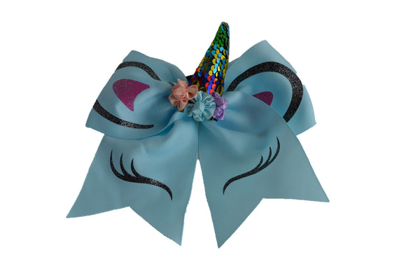 Glitter Baby Blue Large Unicorn Bow - Dream Lily Designs
