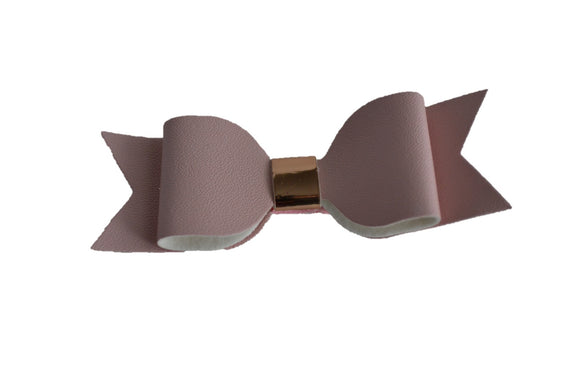 Light Pink Leather Bow - Dream Lily Designs