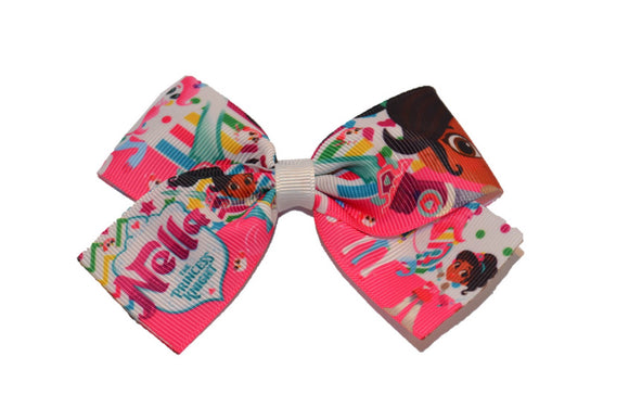 Nella the Princess Knight 1.5 inch Bow Cheer Bow Style (Misc Characters)