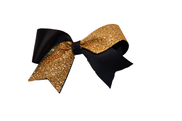 Mini Black and Gold Sparkle Cheer Bow 1