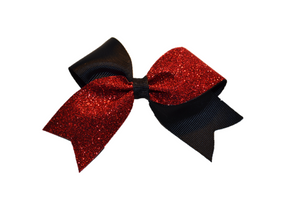 Mini Black and Red Sparkle Cheer Bow