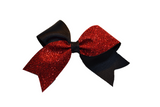 Mini Black and Red Sparkle Cheer Bow Clip - Dream Lily Designs