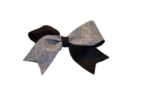Mini Black and Silver Sparkle Cheer Bow 1