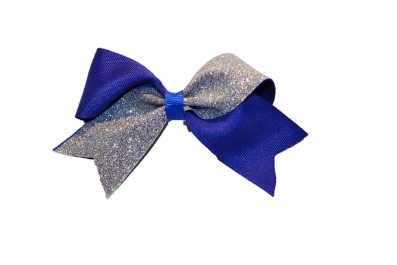 Mini Blue and Silver Sparkle Cheer Bow 1