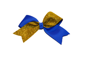 Mini Blue and Yellow Gold Sparkle Cheer Bow 1