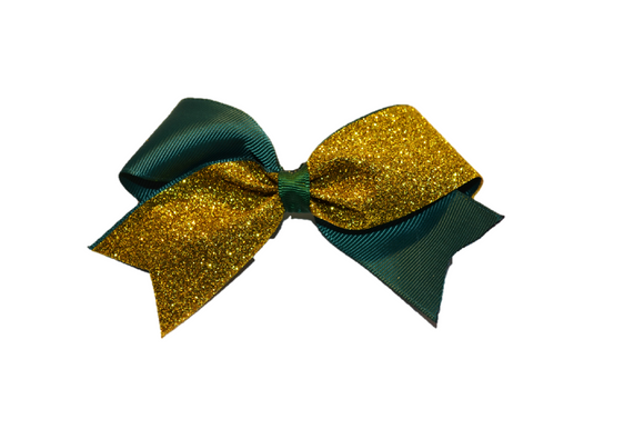 Mini Dark Green and Yellow Gold Sparkle Cheer Bow 1