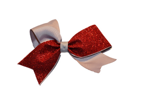 Mini Grey and Red Sparkle Cheer Bow