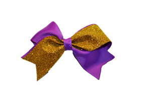 Mini Purple and Yellow Gold Sparkle Cheer Bow 1