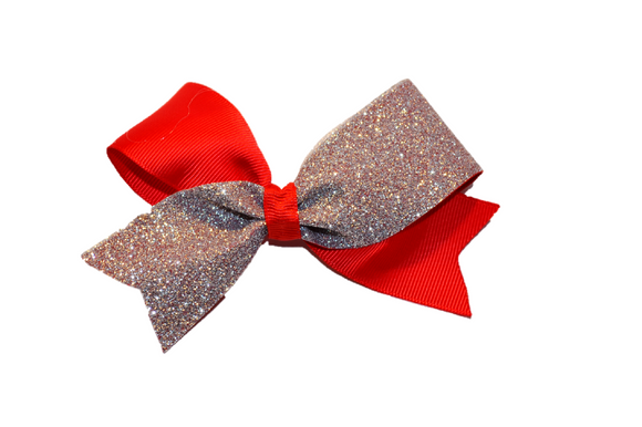 Mini Red and Silver Sparkle Cheer Bow