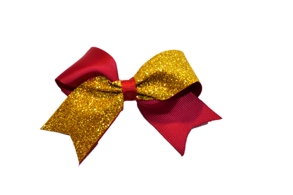 Mini Dark Red and Yellow Gold Sparkle Cheer Bow