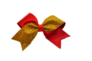 Mini Red and Yellow Gold Sparkle Cheer Bow
