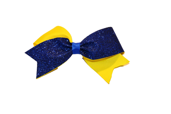 Mini Yellow and Blue Sparkle Cheer Bow Clip - Dream Lily Designs