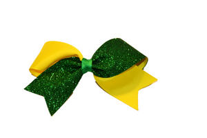 Mini Yellow and Green Sparkle Cheer Bow Clip