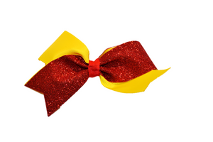 Mini Yellow and Red Sparkle Cheer Bow Clip