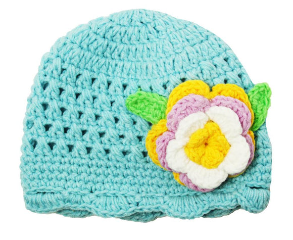 Aqua Blue Crochet Hat with Flower - Dream Lily Designs