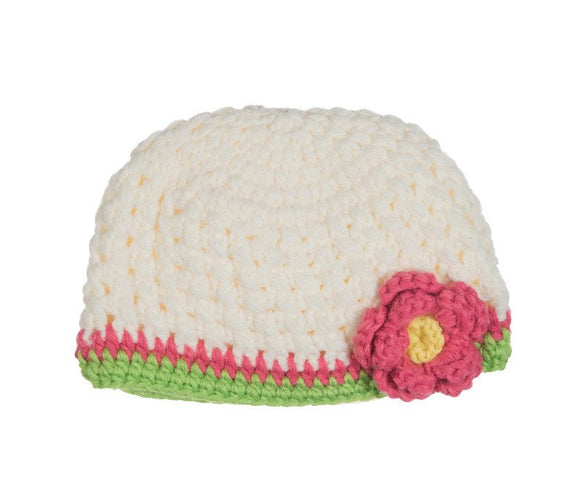 White Crochet Hat with Flower - Dream Lily Designs
