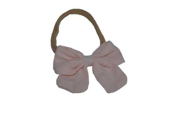 Very Light Pink Linen Bow Baby Nylon Headband - Dream Lily Designs