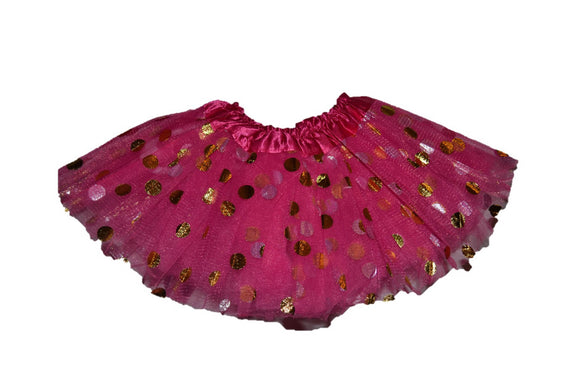 Hot Pink Gold Silver Polka Dot Tutu Baby