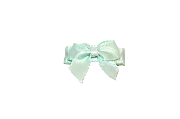 Mint  Satin Baby Snap Clip