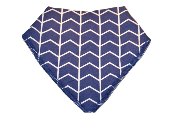 Blue Bandana Bib with White Aztec Stripes - Dream Lily Designs
