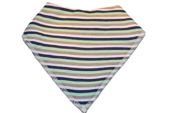 White Bandana Bib with Blue, Green, and Grey Stripes - Dream Lily Designs
