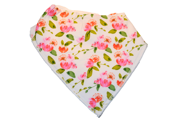 White Bandana Bib with Small Pink Flowers 1