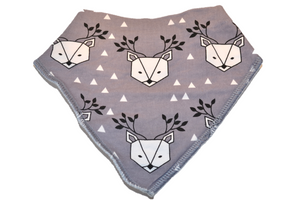 Grey Bandana Bib with White Triangles and Reindeer