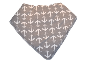 Grey Bandana Bib with White Anchors