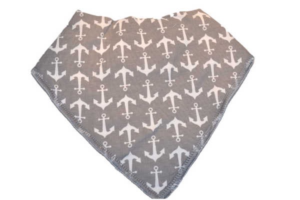 Grey Bandana Bib with White Anchors 1