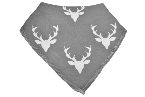 Grey Bandana Bib with White Deer