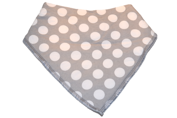 Grey Bandana Bib with White Polka Dots