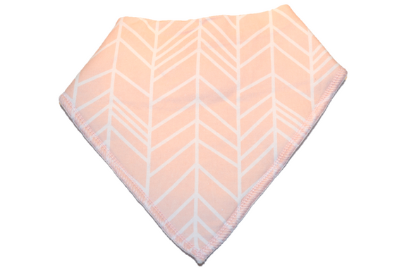 Light Pink Bandana Bib with White Aztec Stripes