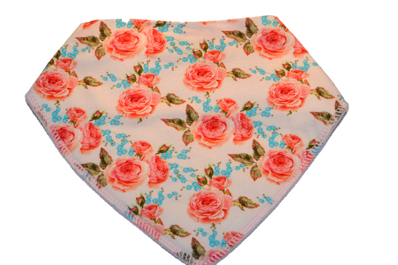 White Bandana Bib with Pink and Blue Flowers 1